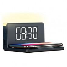 LED-väckarklocka  med  trådlös  laddare  -  Svart