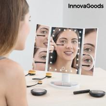 4-i-1 sminkspegel med förstoringszoner och lampor