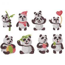 Diamond paint panda klistermärken - 8 st