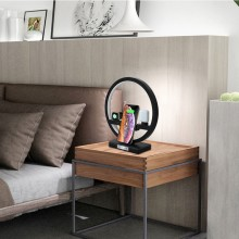 3-i-1 QI trådlös LED docking station till Airpods, iWatch och Iphone